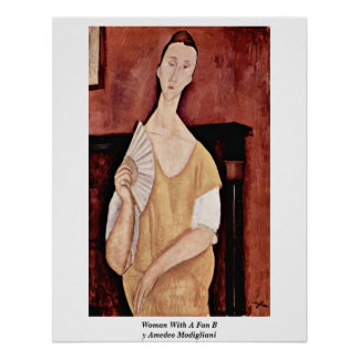 Woman With A Fan By Amedeo Modigliani Posters