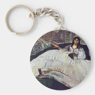Woman With A Fan By Manet Edouard Keychain