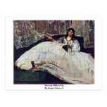 Woman With A Fan By Manet Edouard Postcard