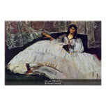 Woman With A Fan By Manet Edouard Poster
