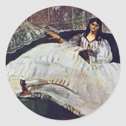 Woman With A Fan By Manet Edouard Sticker