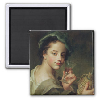 Woman with a Glass of Wine 2 Inch Square Magnet