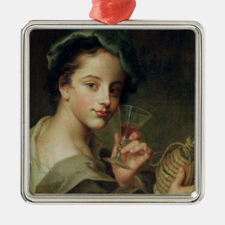 Woman with a Glass of Wine Metal Ornament