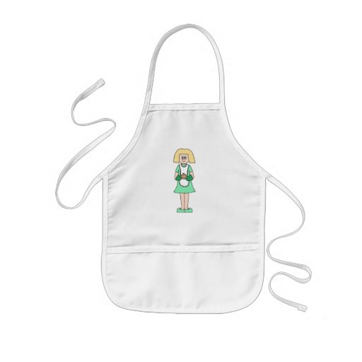 Woman with a hot soup pot. In green and white. Aprons