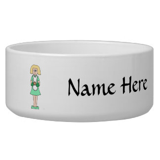 Woman with a hot soup pot. In green and white. Bowl
