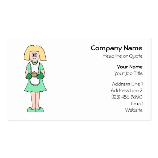 Woman with a hot soup pot. In green and white. Double-Sided Standard Business Cards (Pack Of 100)