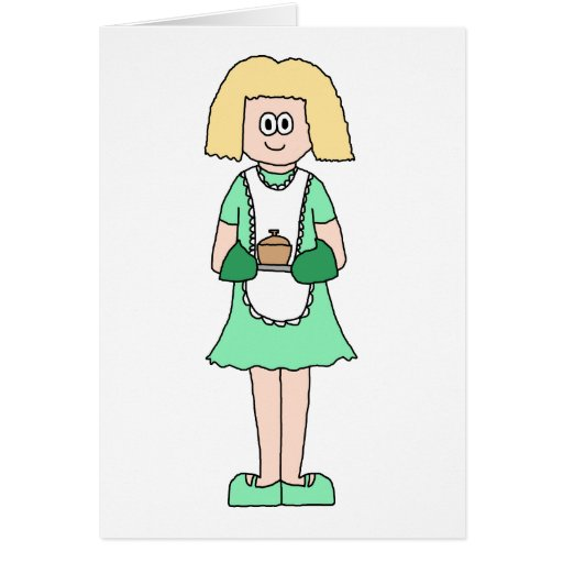 Woman with a hot soup pot. In green and white. Cards