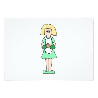 Woman with a hot soup pot. In green and white. Card