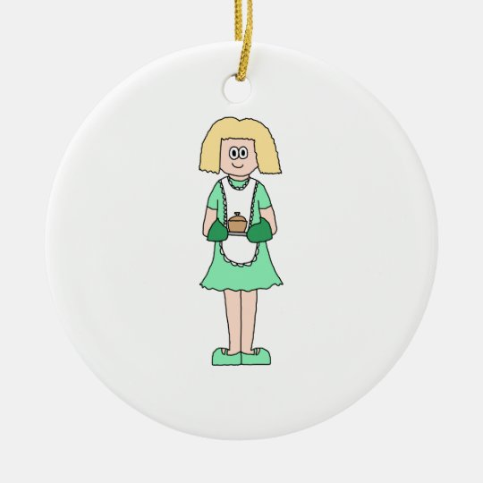 Woman with a hot soup pot. In green and white. Ceramic Ornament