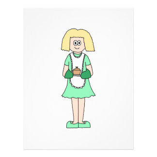 Woman with a hot soup pot. In green and white. Custom Flyer