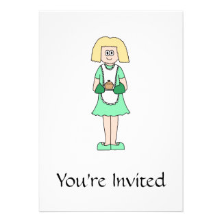 Woman with a hot soup pot. In green and white. Personalized Invites