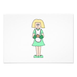 Woman with a hot soup pot. In green and white. Personalized Invitation