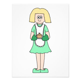 Woman with a hot soup pot. In green and white. Custom Invites