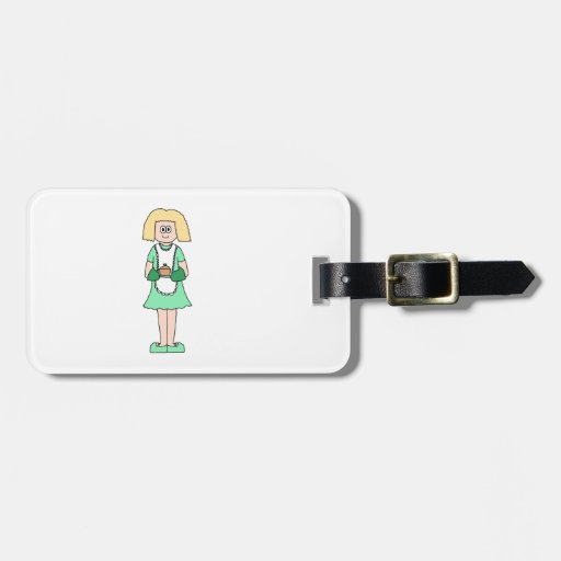 Woman with a hot soup pot. In green and white. Tag For Luggage