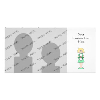 Woman with a hot soup pot. In green and white. Customized Photo Card