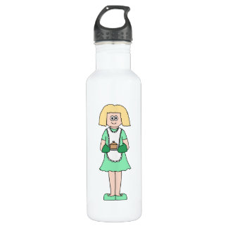 Woman with a hot soup pot. In green and white. Water Bottle