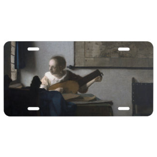 Woman with a Lute by Johannes Vermeer License Plate