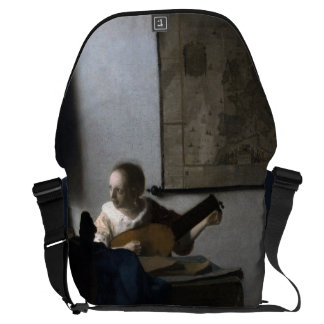 Woman with a Lute by Johannes Vermeer Messenger Bag