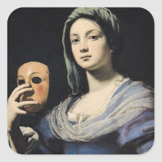 Woman with a Mask 2 Square Sticker