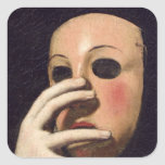 Woman with a Mask Square Sticker