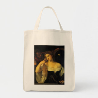 Woman with a Mirror by Titian Grocery Tote Bag