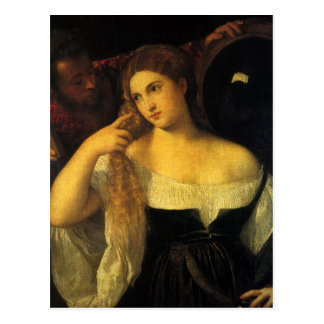 Woman with a Mirror by Titian Postcard