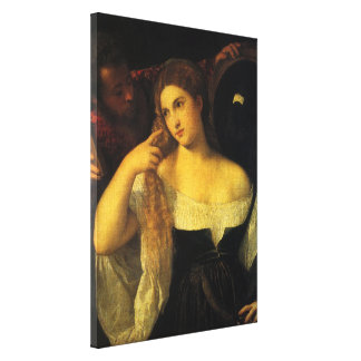 Woman with a Mirror by Titian, Vintage Renaissance Canvas Print