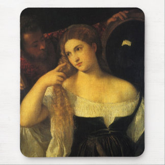 Woman with a Mirror by Titian, Vintage Renaissance Mouse Pad