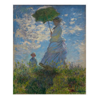 Woman with a Parasol by Claude Monet Poster