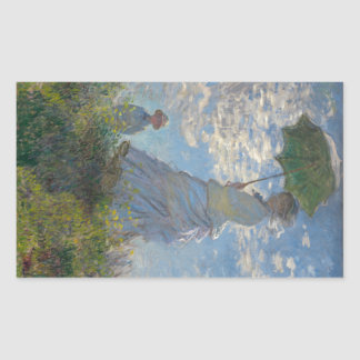 Woman with a Parasol by Claude Monet Rectangle Stickers