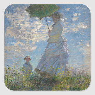 Woman with a Parasol by Claude Monet Square Sticker