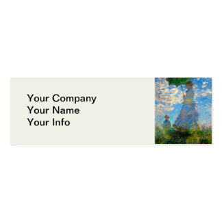 Woman with a Parasol Claude Monet Impressionist Double-Sided Mini Business Cards (Pack Of 20)