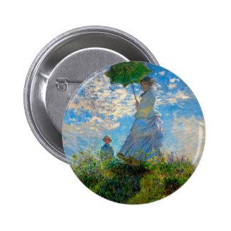 Woman with a Parasol Claude Monet Impressionist Button
