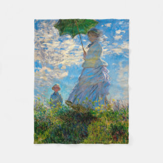 Woman with a Parasol Claude Monet Impressionist Fleece Blanket
