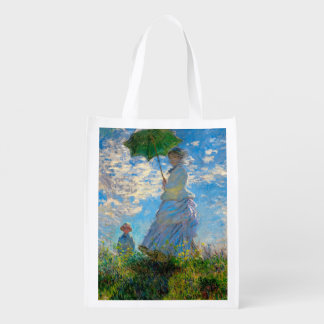 Woman with a Parasol Claude Monet Impressionist Grocery Bag