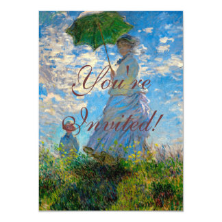 """Woman with a Parasol Claude Monet Impressionist 4.5"""" X 6.25"""" Invitation Card"""
