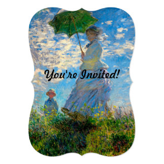 """Woman with a Parasol Claude Monet Impressionist 5"""" X 7"""" Invitation Card"""