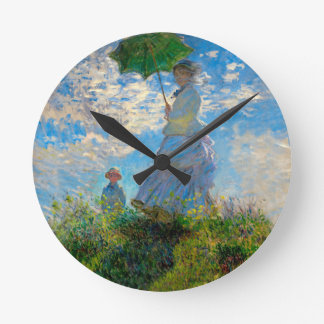 Woman with a Parasol Claude Monet Impressionist Round Clock