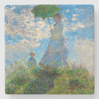 Woman with a Parasol Claude Monet Impressionist Stone Coaster