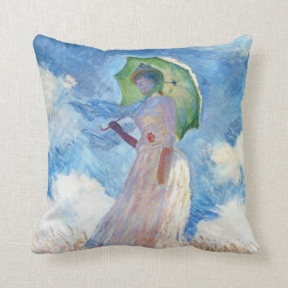 Woman with a Parasol  Claude Monet Pillow
