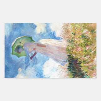 Woman with a Parasol  Claude Monet Rectangular Sticker