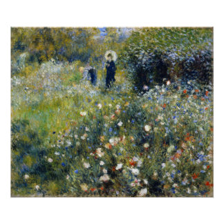 Woman with a Parasol in a Garden Renoir Posters
