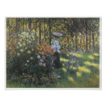 Woman with a Parasol in the Garden at Argenteuil Poster