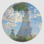 Woman with a Parasol - Madame Monet and Her Son Stickers
