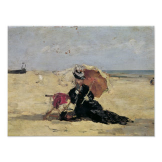 Woman with a Parasol on the Beach, 1880 Poster