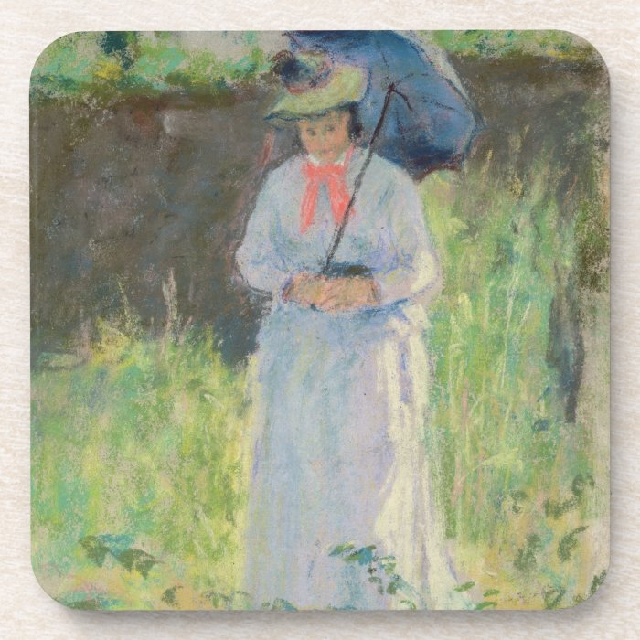 Woman with a Parasol (pastel on paper) Beverage Coaster