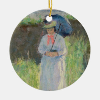 Woman with a Parasol (pastel on paper) Ceramic Ornament