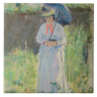 Woman with a Parasol (pastel on paper) Ceramic Tile
