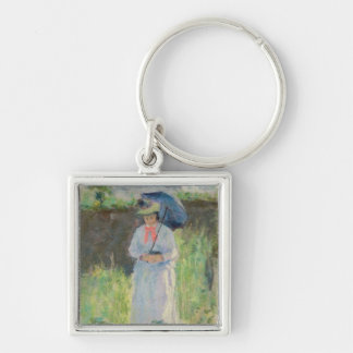 Woman with a Parasol (pastel on paper) Keychain