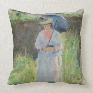 Woman with a Parasol (pastel on paper) Pillow